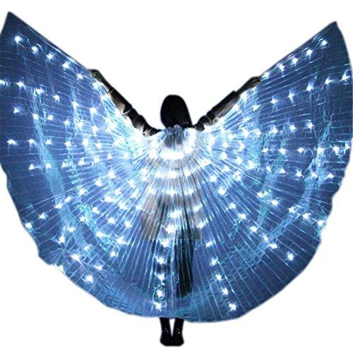 Licht Isis Flügel Bauchtanz Kostüme | 360 Grad Große Schmetterling - Verstellbarem Sticks Professionelle Tanzen Requisiten (Weiß) (Led Baby Halloween Kostüm)