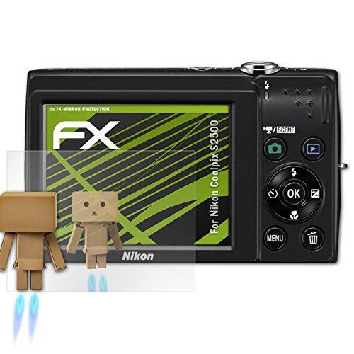 atFoliX Displayfolie kompatibel mit Nikon Coolpix S2500 Spiegelfolie, Spiegeleffekt FX Schutzfolie (Kamera Nikon S2500)