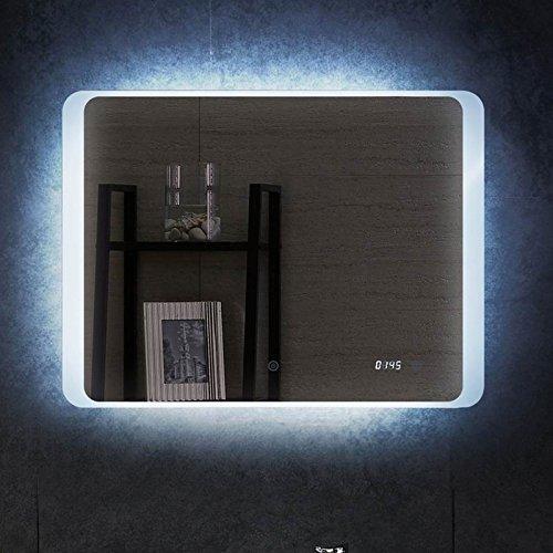 LED Badspiegel mit Beleuchtung Uhr Spiegel 80x60cm Wandspiegel Lichtspiegel Bad