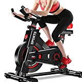 Dripex Upright Exercise Bikes (Indoor Studio Cycles) - Studio Quality with Heart Rate Monitor, Large Bidirectional Flywheel, Belt Drive, Infinite Resistance, LCD Displays, Hand Pulse【2019 Model,9320】