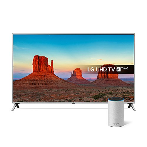 LG 75UK6500PLA 75-Inch UHD 4K HDR Smart LED TV with Freeview Play - Steel Silver/Black (2018 Model) with All-new Amazon Echo (2nd generation), Sandstone Fabric Bundle