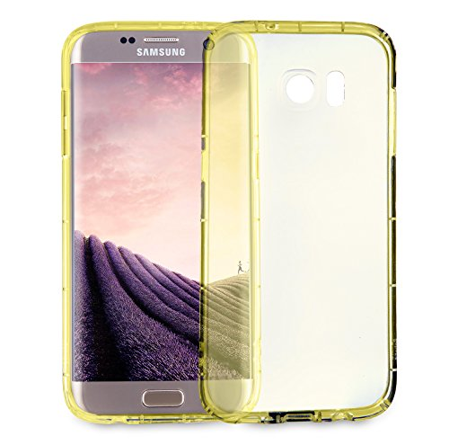 MyGadget PC Plastik Hülle für - Samsung Galaxy S7 Edge - ultra dünn & leicht (0,8 mm / 6 gr.) harter Bumper Schutzhülle Cover Case Anti Kratz Schutz in Schwarz Crystal Case Gelb