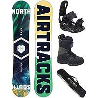 Airtracks Snowboard Set/Board North South Wide Flat Rocker + Snowboard Bindung Star + Snowboardboots + Sb Bag / 152 156 159 163 / cm