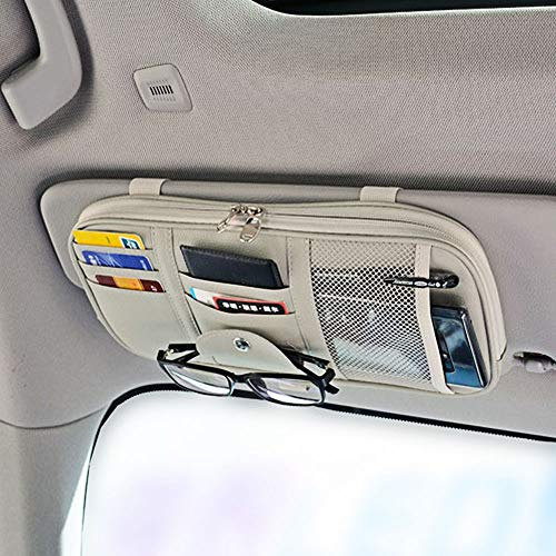 Da by Leather Car Sun Visor Organizer, Auto Interior Accessories Pocket Organizer - Car Truck Storage Pouch Holder, with Multi-Pocket Net Zipper(Gray)