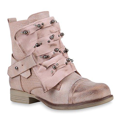 Damen Schuhe Stiefeletten Schnürstiefeletten Zierperlen Nieten Boots 155085 Rosa Brito 39 Flandell