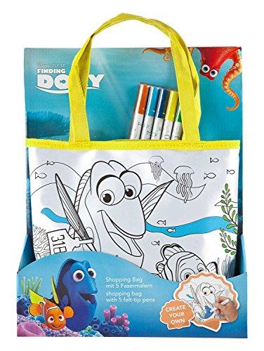 Undercover FDCW2440 - Shopping Bag zum Bemalen, Disney Pixar Findet Dorie inklusive 5 Fasermalern