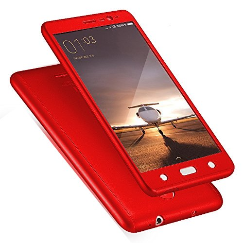 Ace HD 360 degree Complete Protection - Shockproof FRONT & BACK Case Cover + Tempered Glass for Vivo V3Max - Red