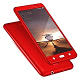 BrewingQ 360 degree Complete Protection - Shockproof FRONT & BACK Case Cover + Tempered Glass for Vivo V3Max - Red