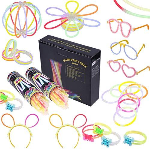 200 Knicklichter Armbänder Glowstick mit 200 Steckverbindern, Dreifache Armbänder, Ein Stirnband,...