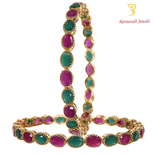 Ratnavali jewels American Diamond Studded Gold Plated Traditional Ruby Red Emerald Green CZ/Diamond Bangles for Women/Girls RV1940  available at amazon for Rs.1299