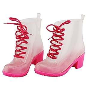 Martin tubo moda pioggia stivali donne, color caramella gelatina cinturino tacco alto scarpe stivali antiscivolo , red , 41
