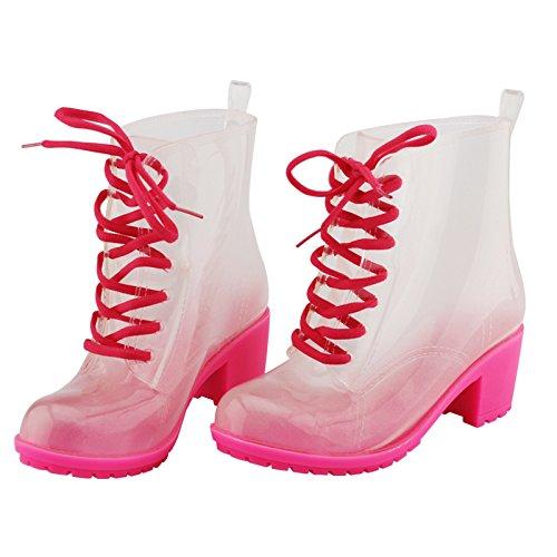 Martin Rohr Mode Gummistiefel Frauen, bonbonfarbenen Gelee Gurt Hochhackige Schuhe rutschfeste Stiefel Red