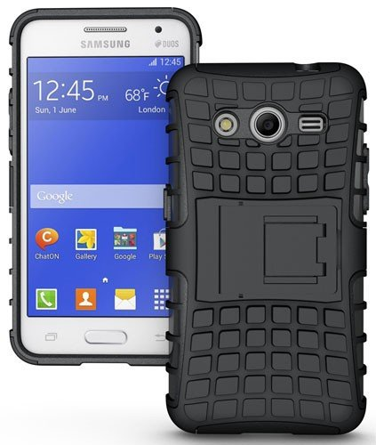 CASSIEY Hard Hybrid Armour Rubber Bumper Kick Stand Polycarbonate Back Case Cover for Samsung Galaxy Core 2 / SMG355H / G355H (Black)  available at amazon for Rs.299