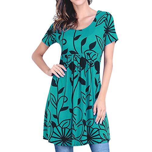 Yvelands Damen langes Kleid Sommer gestreiften O-Ausschnitt Kurzarm Plus Size Casual Dress(Schwarz,XXXL)