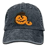 U-Only Men&Women Cat On Pumpkin Halloween Adjustable Vintage Washed Denim Cotton Dad Hat Baseball Caps Red