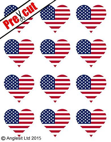 12 STÜCK, VORGESTANZT, MOTIV USA-FLAGGE IN HERZFORM, AUS OBLATENPAPIER, ESSBAR, VORGESTANZT DEKORATION, (Usa-flagge Dekorationen)