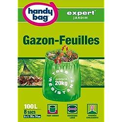 Handy Bag 1 Rouleau de 8 Sacs 100 L, Pour Gazon-Feuilles, Poignées Coulissantes, Très résistant, Ouverture Large, 70 x 74 cm, Vert