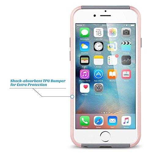 iPhone 6 Plus Hülle, ULAK iPhone 6s Plus 5.5 Hülle Dual Layer Hybrid Schutzhülle Hart PC + TPU Weiche Stoßfest Tasche Case Cover für Apple iPhone 6 Plus/6s Plus 5.5 Zoll(Minze Marmor) Rosé Gold + Grau