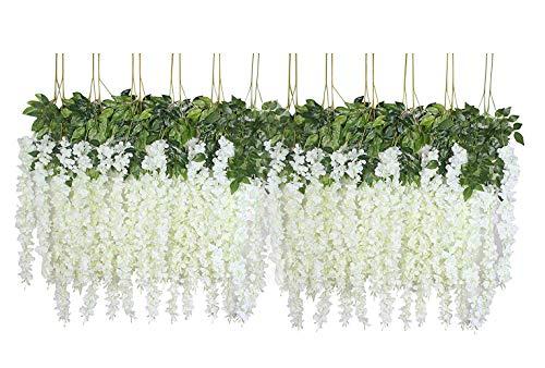 U'Artlines 24 Pezzo/Lotto 110cm Fiore di Seta Artificiale Fiori Finti Glicine Vine Appeso Garland for Home Garden Party Wedding Decor Simulazione Fiore (24Pezzi/Lotto, 110 cm, Bianco)
