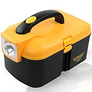 Anvey Battery Operated Lighting Multifunctional Storage Box With LED Torch cum Tool Box Car Kit. Black & Yellow Color