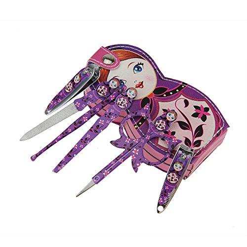 FakeFace Kit Manucure Complet de 6 Pièces Ciseaux à Ongles Nail Forme de Poupée-Violet