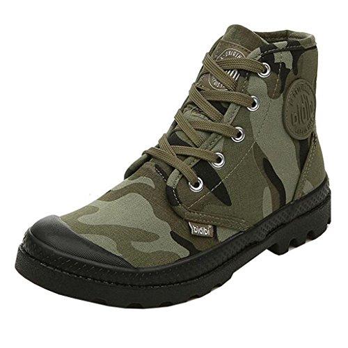 Mashiaoyi Donna a Collo Alto Round-Toe Piatto con Cordoncino Tela Boots Army Green