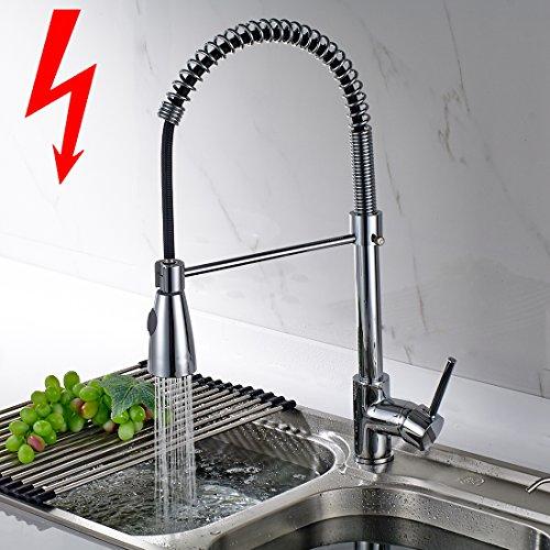 Aimadi Niederdruck Küchenarmatur Wasserhahn Mischbatterie 360° drehbar Küche Armatur Einhebelmischer Spültischarmatur Geschirrbrause Spiralfederarmatur Chrom