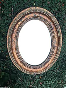 Miroir mural miroir ovale doré, marron style ancien hauteur 39 cm
