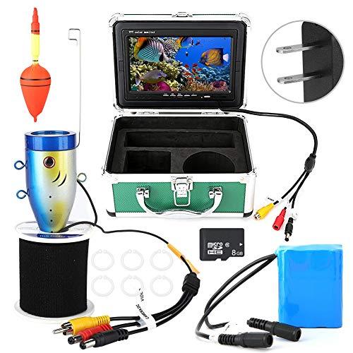 Ice Fishing-elektronik (Unterwasserkamera,Fischfinder-Monitor, Unterwasserfischen-Videokamera, 7in Monitor 30m 1000TVL mit 8G TF-Karte für Ice Lake Sea Fishing(Uns))