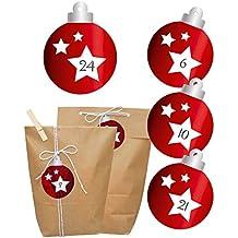 Adventskalender rote Christbaumkugel | Tüten, Aufkleber,Holzklammern & Kordel | Weihnachtskalender zum Befüllen | Papierbeutel in 2 Größen & Sticker mit Zahlen | glänzend Rot foliert | Exklusive Neuheit 2017 |