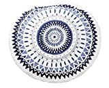 Junsi Round Beach Towel with Tassels Aztec Pattern Large 59'' Unique Circle Design Perfect Towel for Beach and Travel Extra Thick and Soft Woven 100% Natural (Black and White)