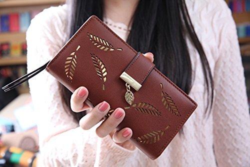 Damen Elegant Süß Leder Geldbörse ACGE® Pu neuer Stil Damen Lang Geldbörse (Braun)