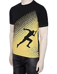 Gentle Men's Club Black & Yellow Men's 100% Cotton Round Neck Half Sleeve Solid T-Shirt