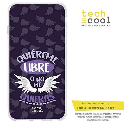 Funnytech® Funda Silicona para Huawei P Smart [Gel Silicona Flexible, Diseño Exclusivo] Frase Feminista quiéreme Libre Morado
