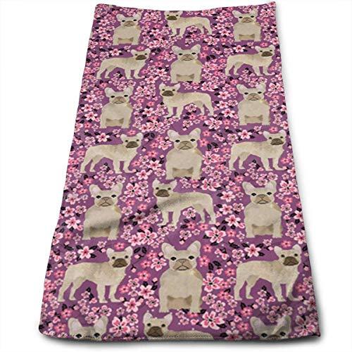 QuGujun Turkish Bath Towels French Bulldog Cherry Blossom Fashion Cool Fade-Resistant Absorbent Beach/Shower Towel -