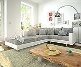 DELIFE Couch Clovis modular - Ecksofa, Sofa, Wohnlandschaft & Modulsofa (Grau/Weiss, Ecksofa Links mit Hocker + Armlehne)