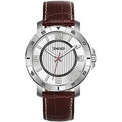 Time100Herren Quarz Armbanduhr Einfache Mode Retro Basis-Angelegenheit phosphoreszierende Zeiger Kalender Armband Echtleder # w70109g.03a