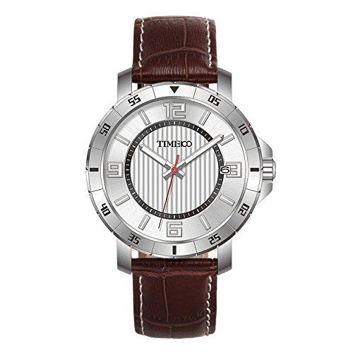 Time100 orologio uomo cinturino in pelle marrone movimento al quarzo lancette luminescenti display analogico # w70109g.03an