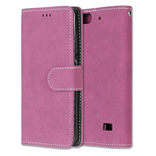 Chreey Huawei Honor 4C/G Play Mini Hülle, Matt Leder Tasche Retro Handyhülle Magnet Flip Case mit Kartenfach Geldbörse Schutzhülle Etui [Rose Rot]