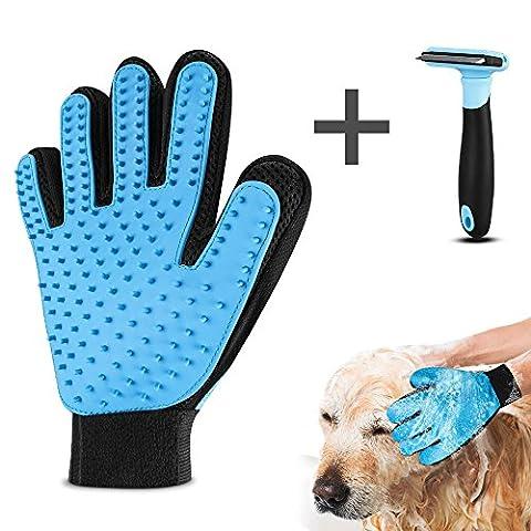 Pet Bürste Handschuh, Furado Haustier Bürste Hunde Handschuh Grooming Massage Handschuh Bürste Haar Remover Bürst Handschuh für Sanfte und Effiziente Pflege, Einschließlich Zusätzlicher Pet Deshedding tool