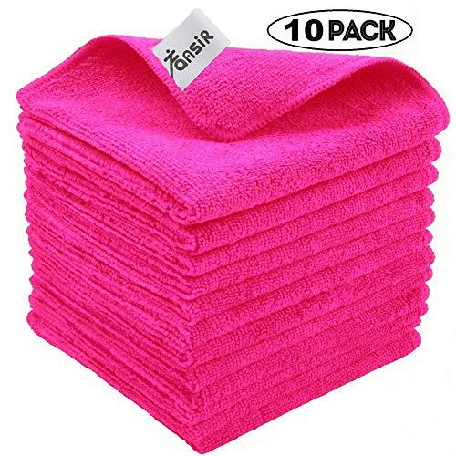 FANSIR Mikrofaser-Reinigungstücher, Fusselfreies Superweiches Tuch zum Polieren Waschen, Wachsen, Abstauben, Reinigen von Zubehör, Maschinenwaschbare Dicke Handtücher, 10 Stück (Rosa)