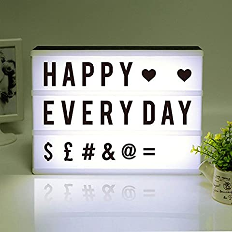 Cinematic Light Box, A4 Cinematic Light Box LED Lightbox with 180 Black Characters Light Up Your Life Box (A4-Black Shell, Black
