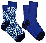 Vitsocks Herren Socken bunt (2 Paar), Geometrie Muster, Jeans Blau, JOY, 39-42