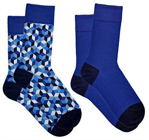 vitsocks Calcetines Originales Hombre Funky Motivo Geométrico ALGODÓN PEINADO, Joy, 2x azul, 43-46