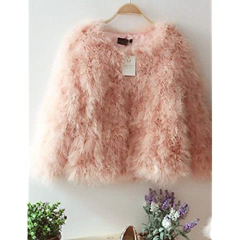 Xi&SOSO struzzo colletto manica lunga di modo del partito di pelliccia / giacca carriera (pi¨´ colori) , pink , l - Faux Struzzo
