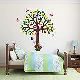 Mirrorin klein Gewebe der Polyester Baum mit Eule, Vögel und Blumen Wandtattoo