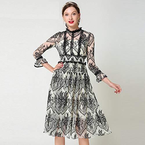Flare Wimpern (QUNLIANYI Kleider Lang Runway Lace Kleid Frauen Flare Ärmel Elegante Wimpern Spitze Hohe Elastische Taille Party Vintage Langes Kleid XL)