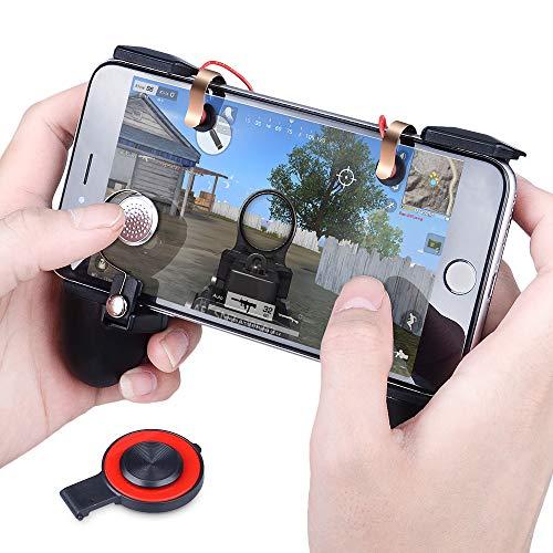 Controladores de juego móvil de PUBG Lanzamiento de Qoosea sensible Objetivo Joysticks Gamepad Botones físicos L1R1 Diseño ergonómico Juego de empuñadura Disparadores para cuchillos Out / PUBG / Reglas de supervivencia para todos los iOS de 4.5-6.5 pulgadas Android IOS