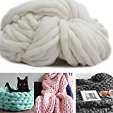 100% Non-Mulesed Chunky Wool Chunky Yarn for Blanket/Hat/Scarf, Thick Knitted Yarn for DIY Craft (White)