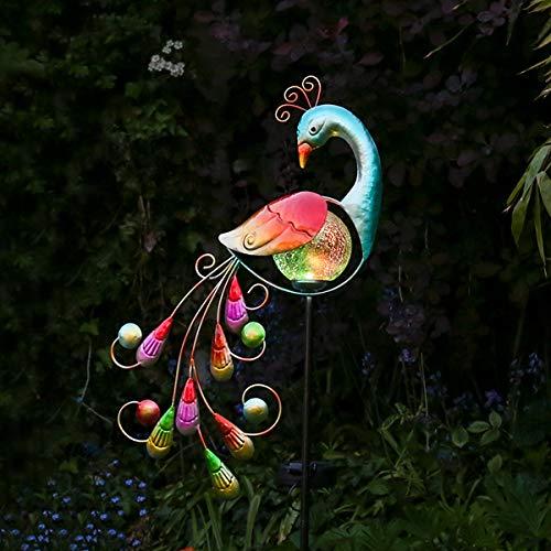 Pavo real luminoso para jardín, solar, con iluminación LED que cambia de color,figura de metal y vidrio de 81cm, resistente al agua (pila recargable incluida)